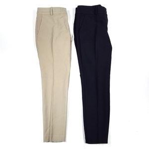 Ann Taylor Slim Ankle Dress Pants Tan & Navy Blue